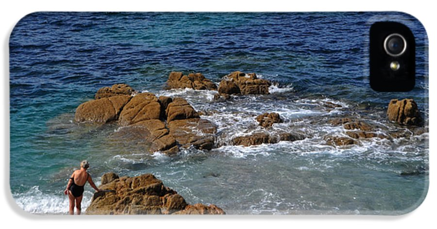 Bathing In The Sea - La Coruna IPhone 5 Case featuring the photograph Bathing In The Sea - La Coruna by Mary Machare