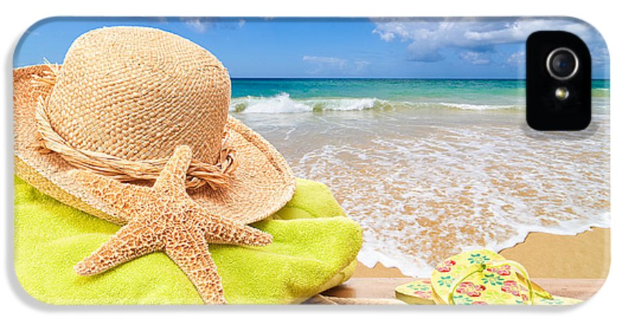 Summer IPhone 5 Case featuring the photograph Beach Bag With Sun Hat by Amanda Elwell