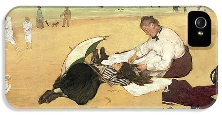 La Plage IPhone 5 Case featuring the painting Beach Scene Little Girl Having Her Hair Combed By Her Nanny by Edgar Degas