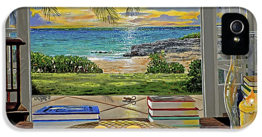 Beach IPhone 5 Case featuring the painting Beach View by Carey Chen
