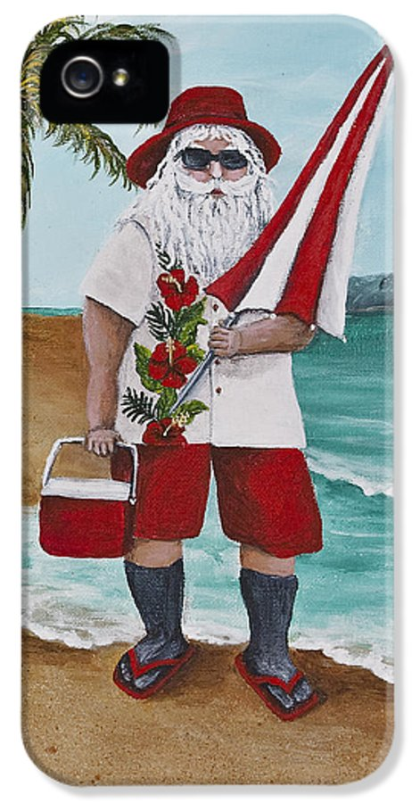 Christmas IPhone 5 Case featuring the painting Beachen Santa by Darice Machel McGuire