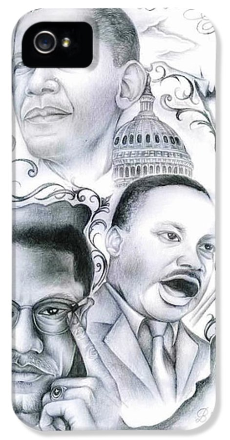 Martin Luther King IPhone 5 Case featuring the drawing Beautiful Struggle by Eddie Egesi