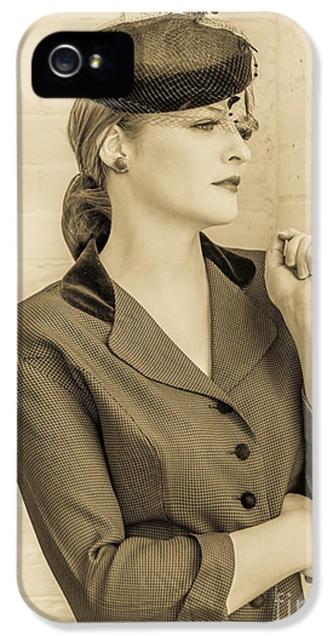1940s IPhone 5 Case featuring the photograph Beautiful Woman In Vintage Forties Clothing by Diane Diederich