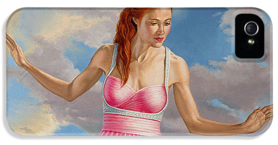 Figure IPhone 5 Case featuring the painting Becca In Pink by Paul Krapf
