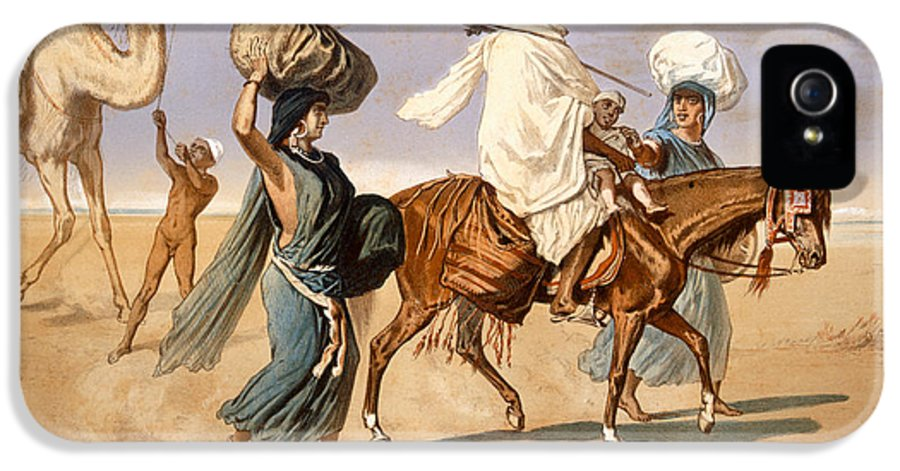 Horse IPhone 5 Case featuring the painting Bedouin Family Travels Across The Desert by Henri de Montaut