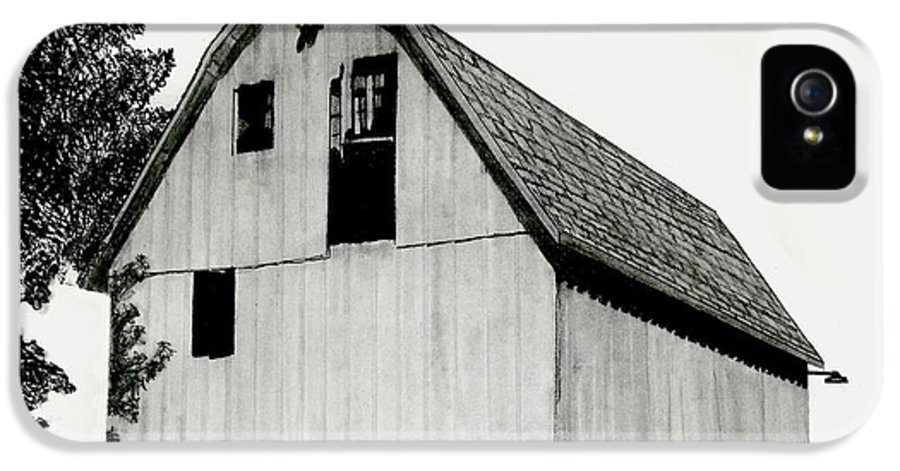 Pencil Barn Drawing IPhone 5 Case featuring the drawing Behind The Barn by Todd Spaur