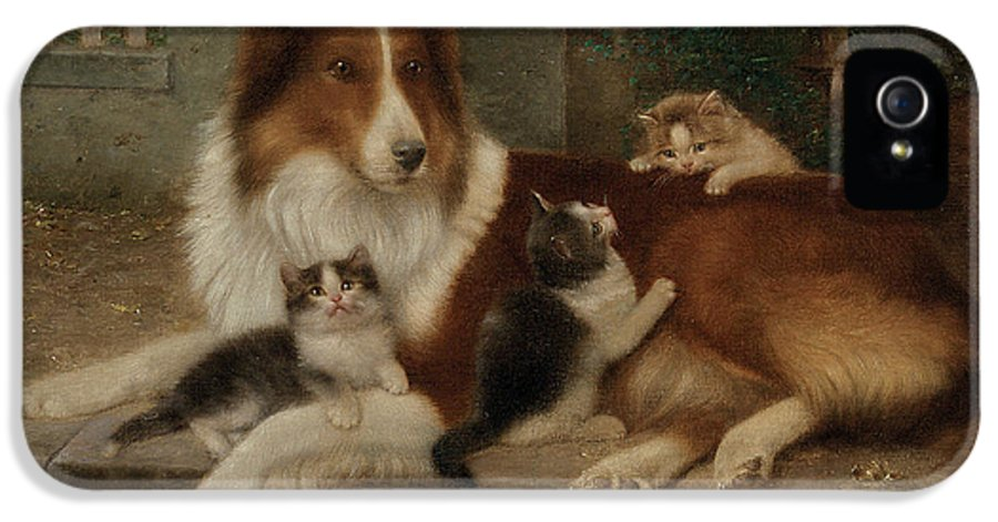 Best Of Friends IPhone 5 Case featuring the painting Best Of Friends by Wilhelm Schwar