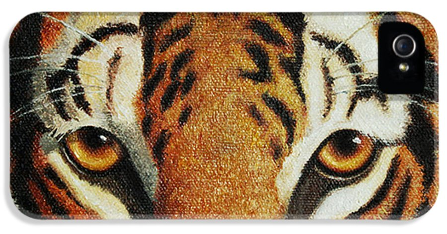 Tiger IPhone 5 Case featuring the painting Beware by Crista Forest