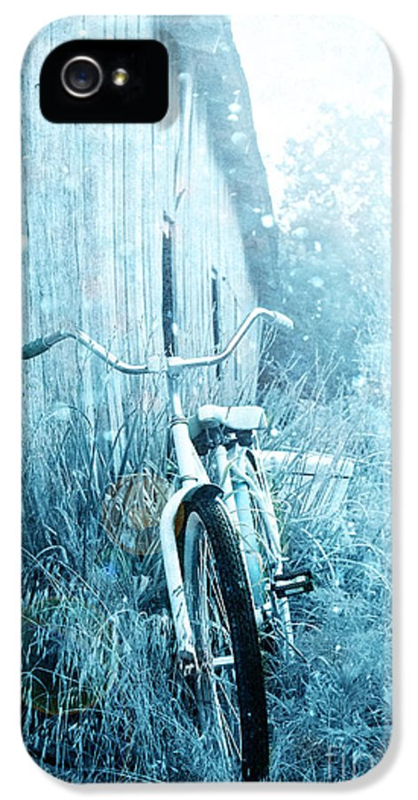 Exterior IPhone 5 Case featuring the photograph Bicycle In Blue by Stephanie Frey