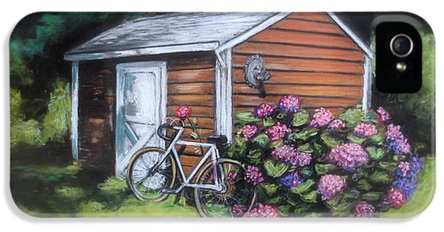 Bicycle IPhone 5 Case featuring the painting Bicycle Resting On Shed by Melinda Saminski