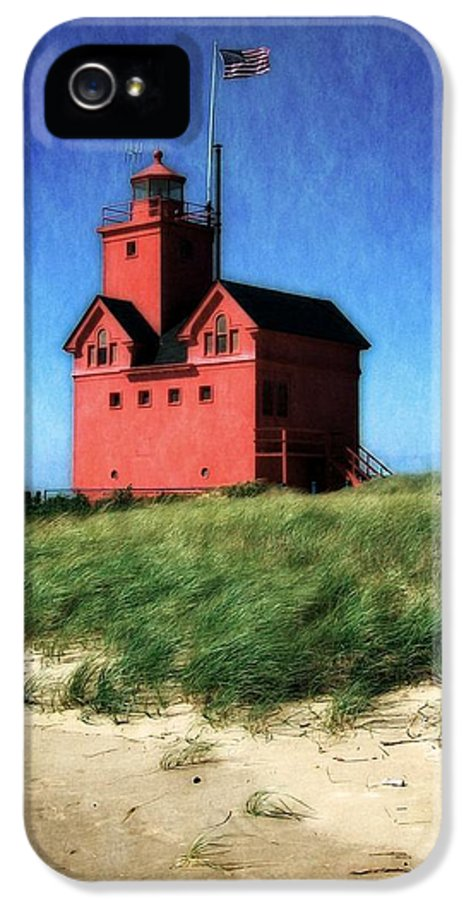 Michigan IPhone 5 Case featuring the photograph Big Red With Flag by Michelle Calkins