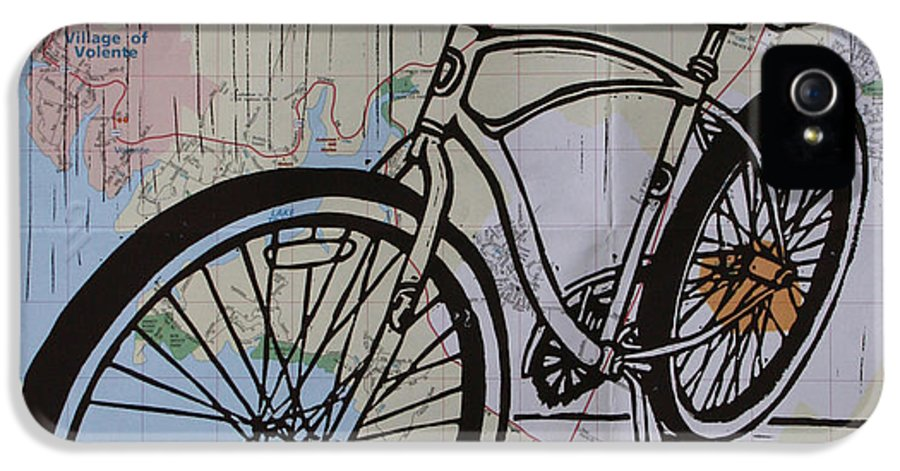 Bike IPhone 5 Case featuring the drawing Bike 6 On Map by William Cauthern