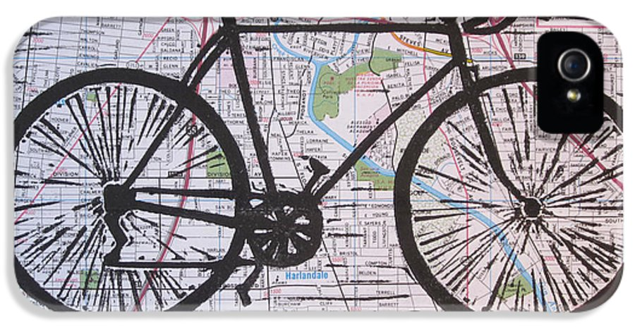 Bike IPhone 5 Case featuring the drawing Bike 8 On Map by William Cauthern