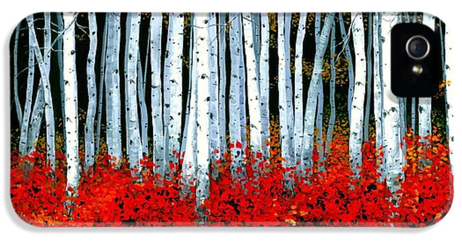 Birch IPhone 5 Case featuring the painting Birch 24 X 48 by Michael Swanson
