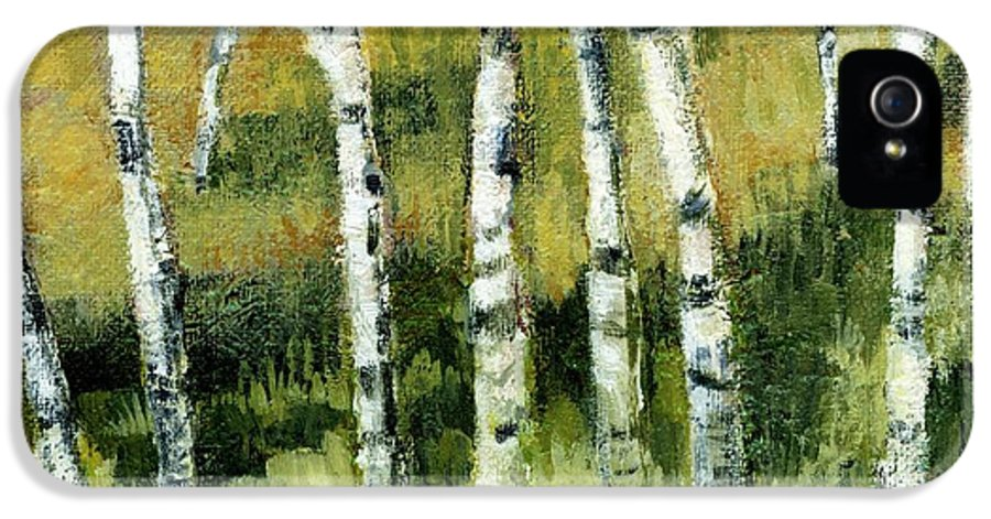 Trees IPhone 5 Case featuring the painting Birches On A Hill by Michelle Calkins