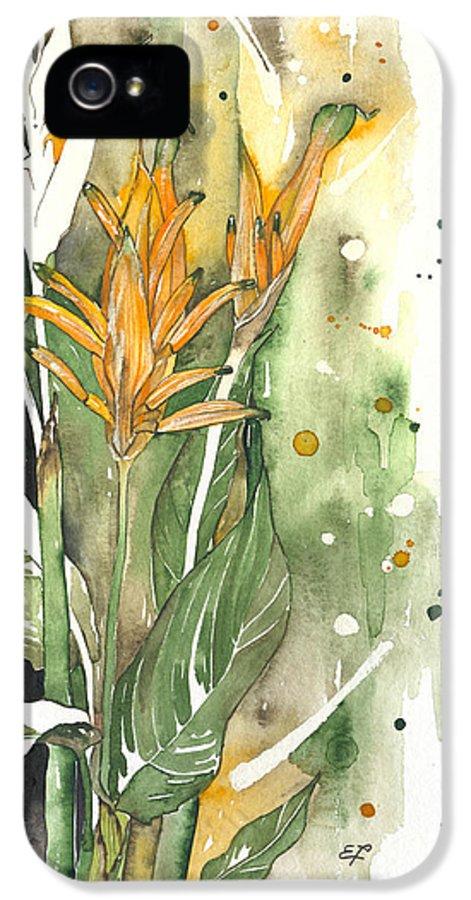 Strelitzia IPhone 5 / 5s Case featuring the painting Bird Of Paradise 08 Elena Yakubovich by Elena Yakubovich