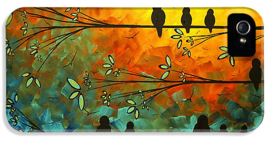 Painting IPhone 5 Case featuring the painting Birds Of A Feather Original Whimsical Painting by Megan Duncanson