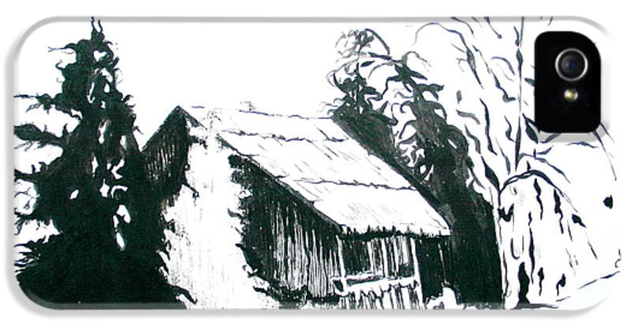 Barn IPhone 5 Case featuring the drawing Black And White Barn In Snow by Joyce Gebauer