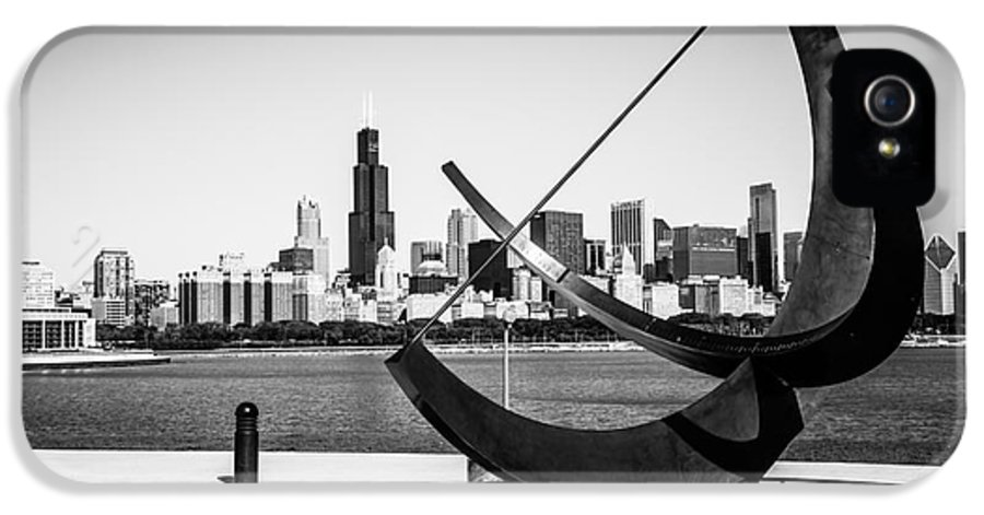 Adler IPhone 5 Case featuring the photograph Black And White Picture Of Adler Planetarium Sundial by Paul Velgos