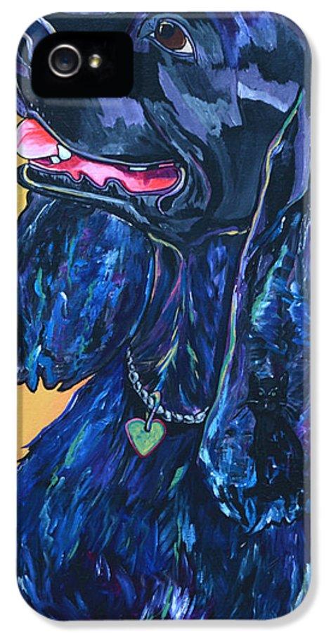 Dog IPhone 5 Case featuring the painting Black Cocker Spaniel by Patti Schermerhorn