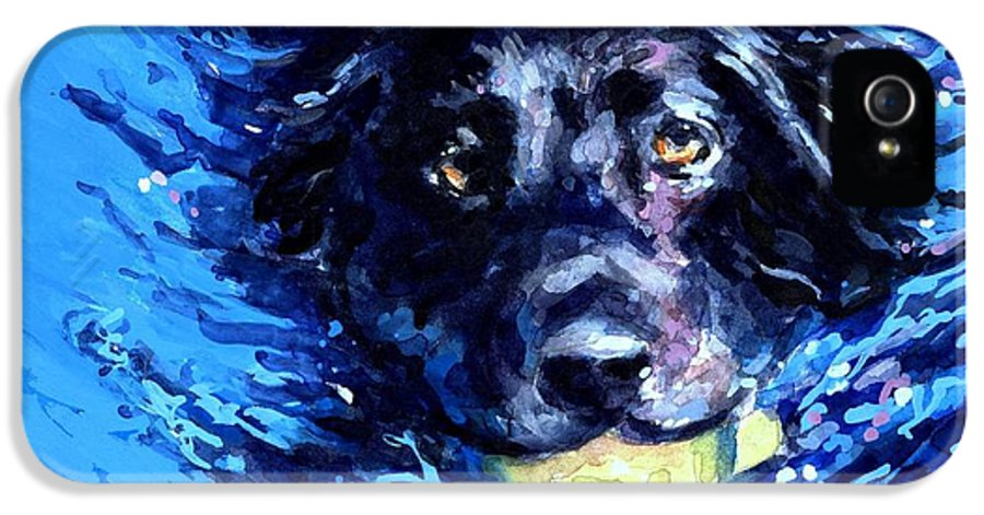 Black Lab IPhone 5 Case featuring the painting Black Lab Blue Wake by Molly Poole