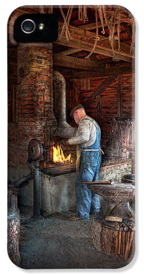 Blacksmith IPhone 5 Case featuring the photograph Blacksmith - The Importance Of The Blacksmith by Mike Savad