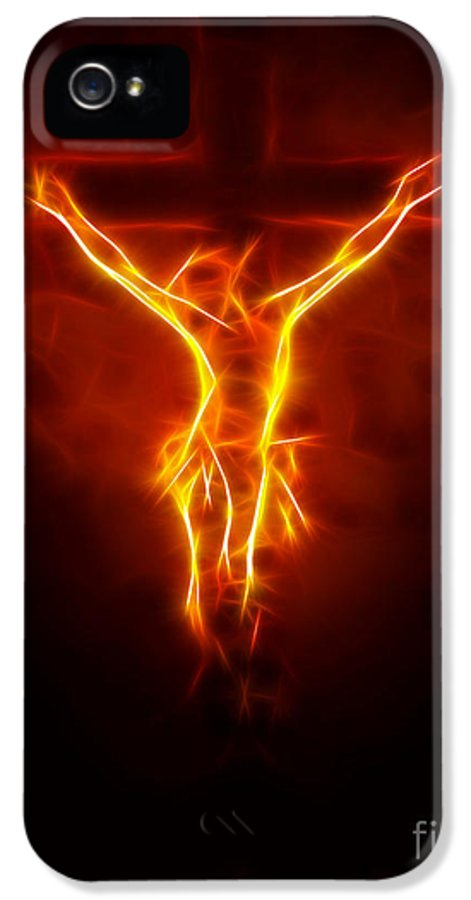 Jesus IPhone 5 Case featuring the mixed media Blazing Jesus Crucifixion by Pamela Johnson
