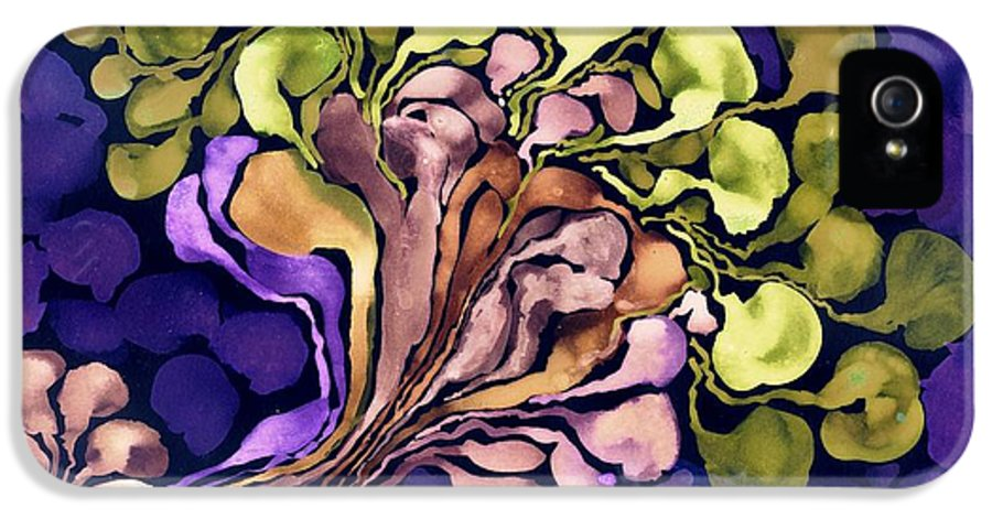 Abstract Bloom Blossom Flower Floral Corpuscles Cathy Peterson Ventura California Listed Artist Watercolor Oil Paint Painting Modern Contemporary Impressionist Impressionism Expressionist Abstract Realism Minimalism Rural Scenes Fantasy Sculpture Original Works Graphics Colored Ink Gouache House Coffee Fine Design Ouvre Record Of Sales Printmaking Westmont College Santa Barbara Cloth Panels Paper Drawings Sketches Experimental Ideas Utilitarian Dekalb 1964 Painter Interpretive Art IPhone 5 Case featuring the painting Blossom Of Spring  Purple by Cathy Peterson