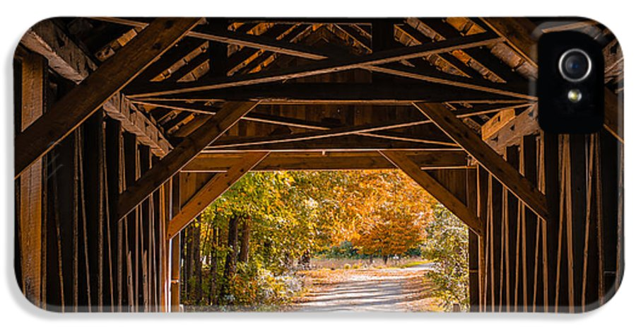 Fall IPhone 5 Case featuring the photograph Blow-me-down Covered Bridge Cornish New Hampshire by Edward Fielding