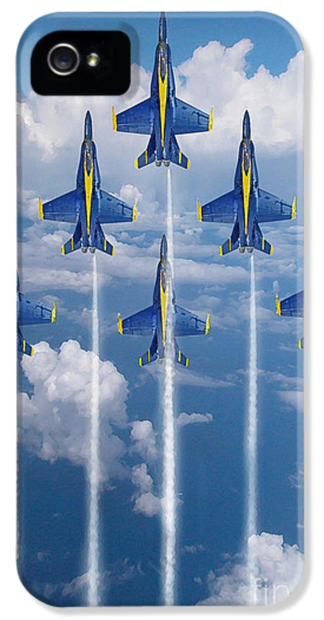 Blue Angels IPhone 5 Case featuring the digital art Blue Angels by J Biggadike