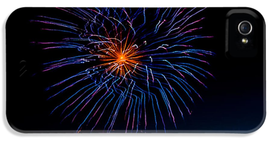 Fireworks IPhone 5 Case featuring the photograph Blue Firework Flower by Robert Bales