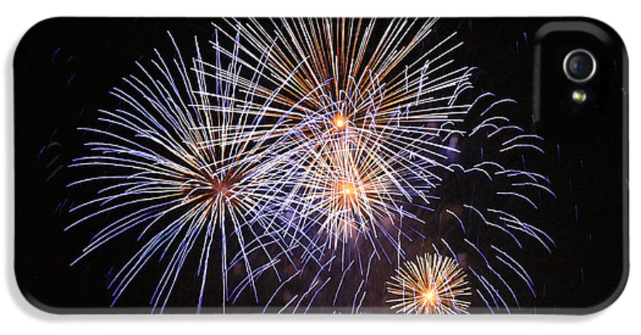 4th July IPhone 5 Case featuring the photograph Blue Fireworks At Night by Deborah Benbrook