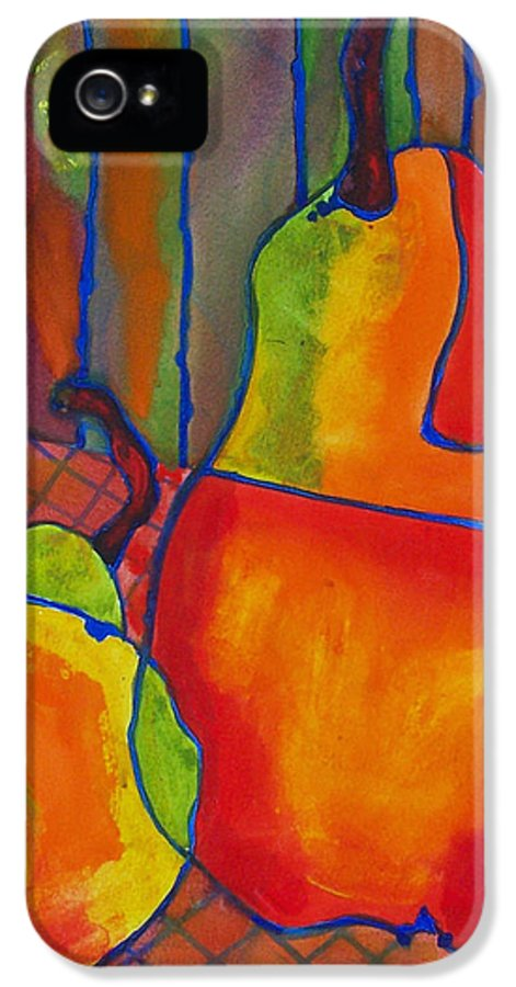 Art IPhone 5 Case featuring the painting Blue Line Pears by Blenda Studio