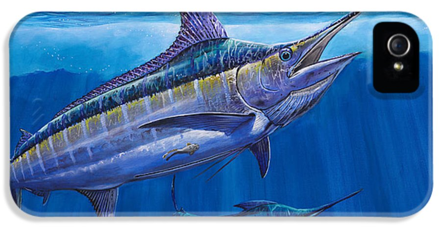 Blue Marlin IPhone 5 Case featuring the painting Blue Marlin Bite Off001 by Carey Chen