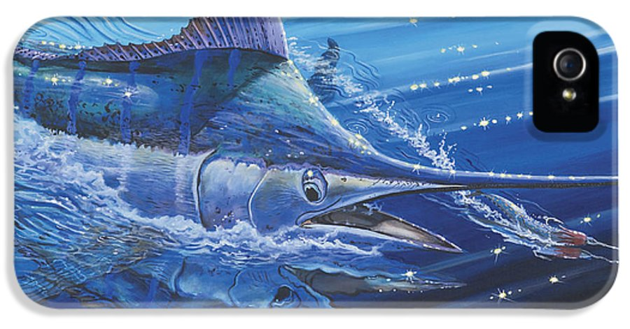 Blue Marlin IPhone 5 Case featuring the painting Blue Marlin Strike Off0053 by Carey Chen
