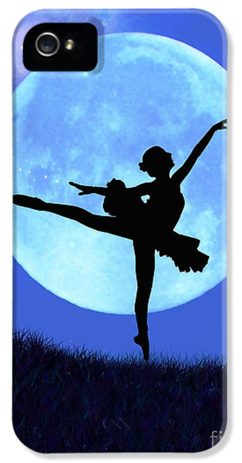 Ballet IPhone 5 Case featuring the digital art Blue Moon Ballerina by Alixandra Mullins