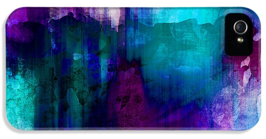 Abstract IPhone 5 Case featuring the painting Blue Rain Abstract Art  by Ann Powell