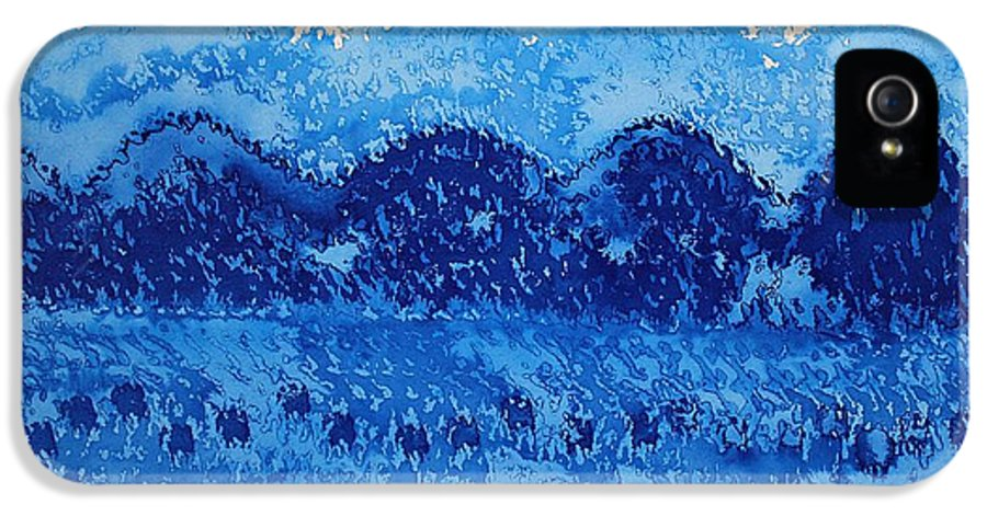 Mountains IPhone 5 Case featuring the painting Blue Ridge Original Painting by Sol Luckman