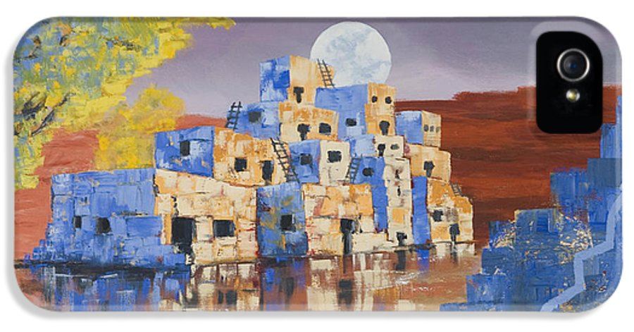 Landscape IPhone 5 Case featuring the painting Blue Serpent Pueblo by Jerry McElroy