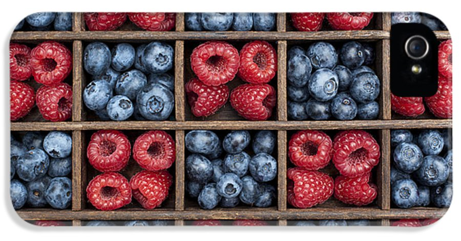 Red IPhone 5 Case featuring the photograph Blueberries And Raspberries by Tim Gainey