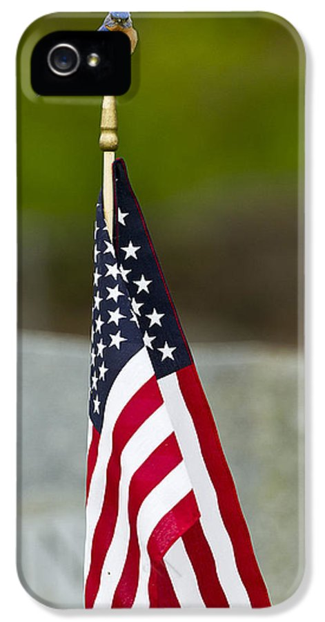 American Flag IPhone 5 Case featuring the photograph Bluebird Perched On American Flag by John Vose