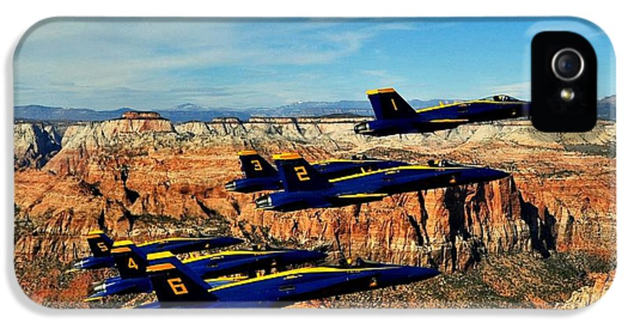 Blue Angels IPhone 5 Case featuring the photograph Blues Over Zion by Benjamin Yeager