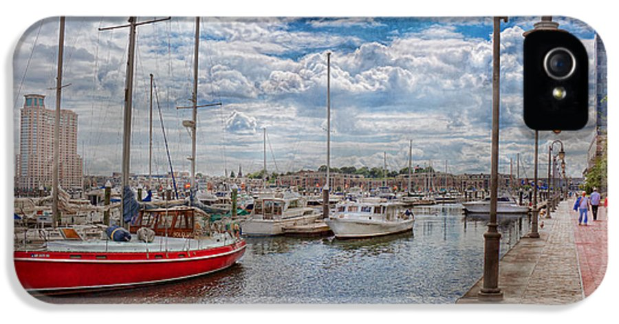 Savad IPhone 5 Case featuring the photograph Boat - Baltimore Md - One Fine Day In Baltimore by Mike Savad