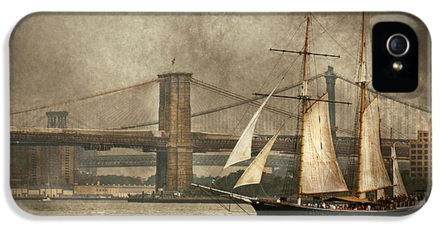 Self IPhone 5 Case featuring the photograph Boat - Sailing - Govenors Island Ny - Clipper City by Mike Savad