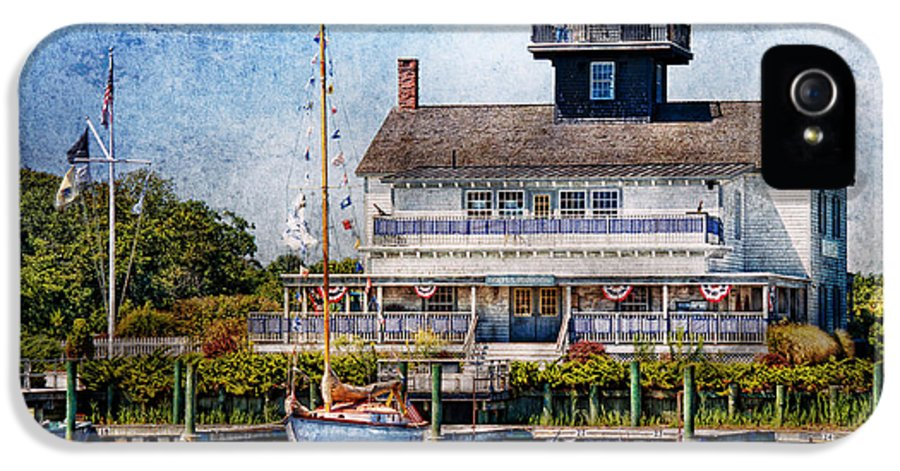 Hdr IPhone 5 Case featuring the photograph Boat - Tuckerton Seaport - Tuckerton Lighthouse by Mike Savad