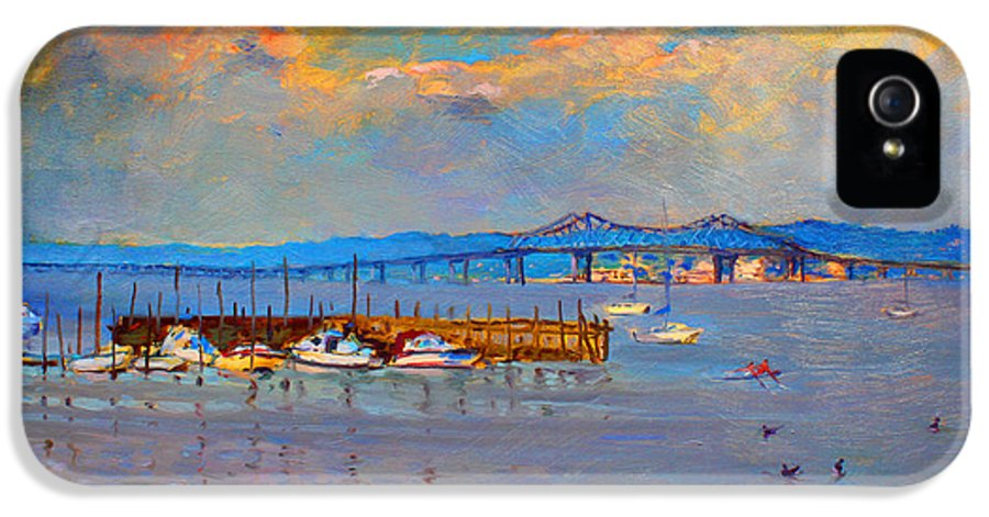 Piermont Ny IPhone 5 Case featuring the painting Boats In Piermont Harbor Ny by Ylli Haruni