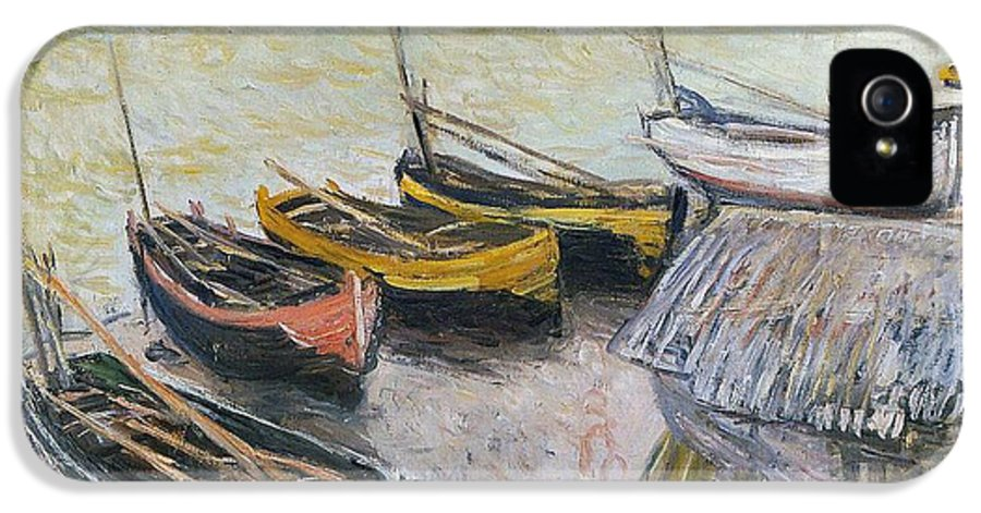 Boats On The Beach IPhone 5 Case featuring the painting Boats On The Beach by Claude Monet