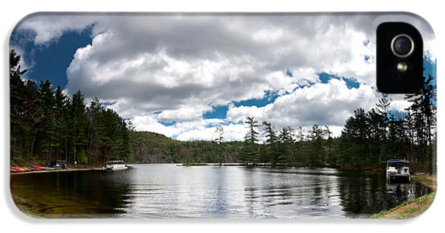 Canoe IPhone 5 Case featuring the photograph Bon Echo Lagoon Panorama by Cale Best
