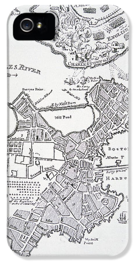 Breed's Hill IPhone 5 Case featuring the drawing Boston And Bunker Hill 1781 by American School