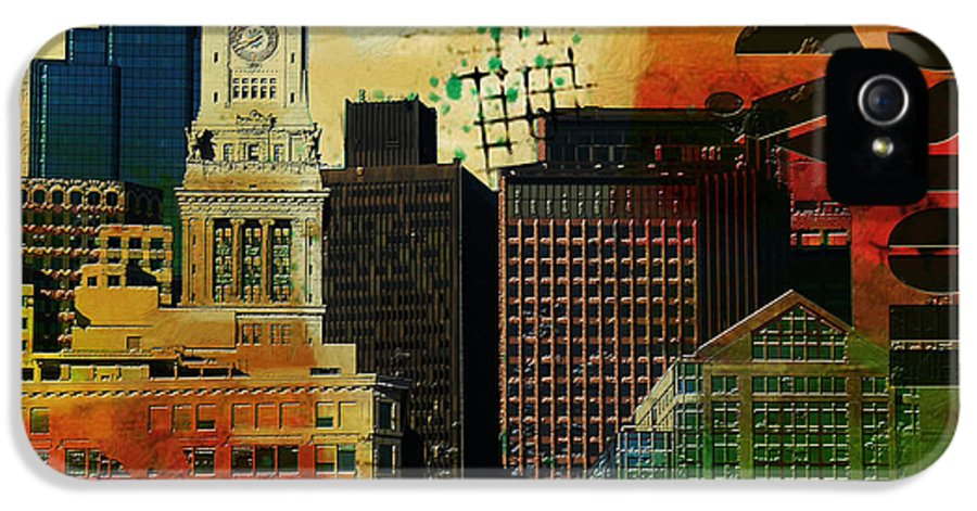 Boston City IPhone 5 Case featuring the painting Boston City Collage 2 by Corporate Art Task Force